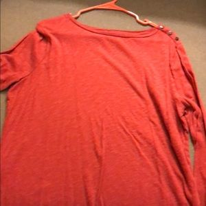 Red Button Shoulder Tee
